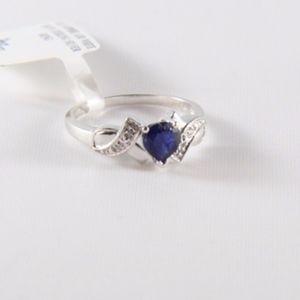 Jewelry - (NWT) JTV Heart-Cut Sapphire & CZ Ring 8.75